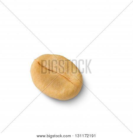 unroasted coffee bean isolated on white with clipping path