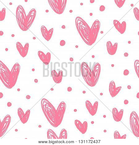 Doodle Romantic Love Seamless Pattern Background. Hand Drawn Simple Graphic Elements For Use In Desi