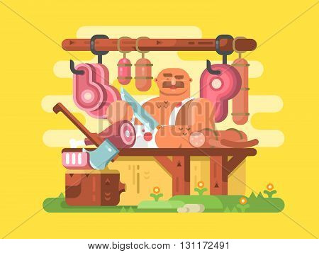 Butcher cuts meat. Fresh and raw beef, work butchery profession person. Vector illustration