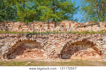 The ruins of the fortress wall of the ancient monastery