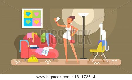 Girl in dress photographed. Posing in dress and fashion model adult glamour, vector illustration