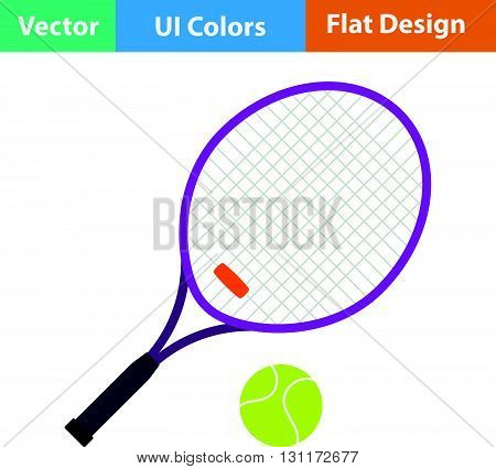 Flat Design Icon Of Tennis Rocket And Ball