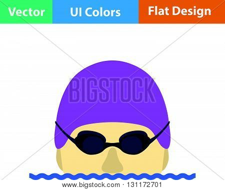 Flat Design Icon Of Swimming Man