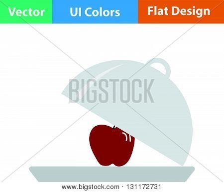 Flat Design Icon Of Apple Inside Cloche