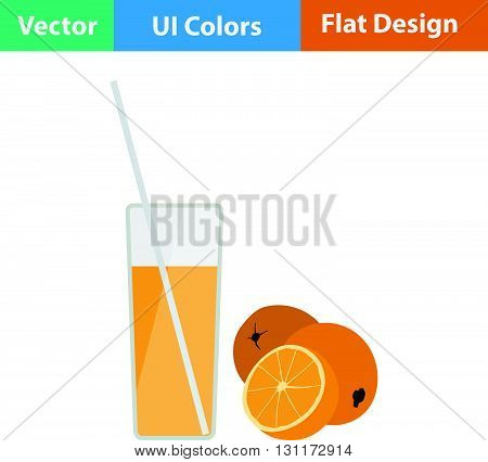 Flat Design Icon Of Orange Juice Glass