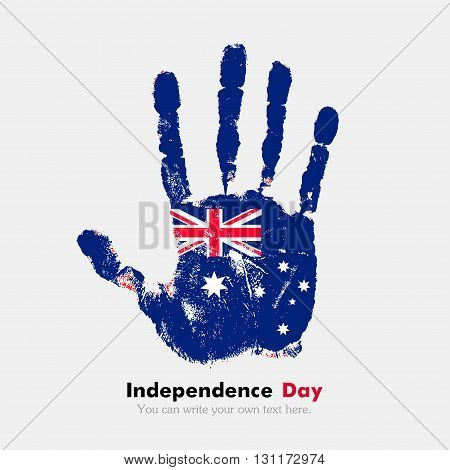 Hand print, which bears the Australian flag. Independence Day. Grunge style. Grungy hand print with the flag. Hand print and five fingers. Used as an icon, card, greeting, printed materials.