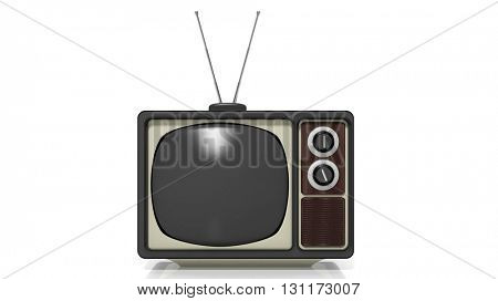 Antique TV set, isolated on white background. 3D rendering