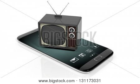Antique TV set on smartphone's screen, isolated on white background. 3D rendering