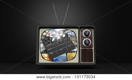 Antique TV set with film clap on screen, on black background. 3D rendering