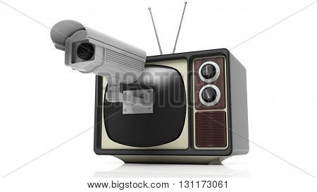 Antique TV set with surveillance camera on screen, isolated on white background. 3D rendering