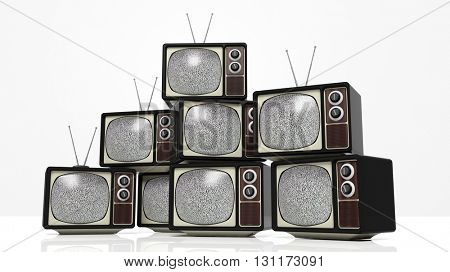 Antique TV sets with noise on screen, isolated on white background. 3D rendering
