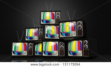 Antique TV sets with color bars on screen, on black background. 3D rendering