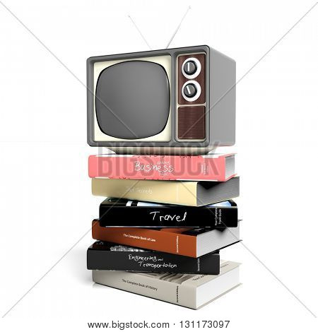 Antique TV set and books, isolated on white background. 3D rendering