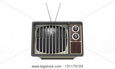 Antique TV set with prison bars on screen, on white background. 3D rendering
