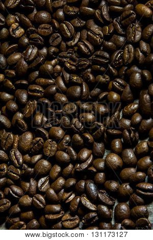 closeup of coffee beans and showing texture