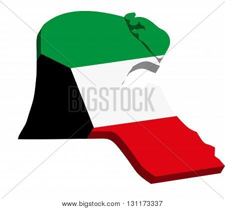 A map of Kuwait 3D with flag on white background