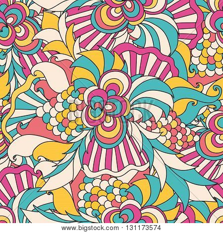 Abstract vector decorative ethnic floral colorful seamless pattern