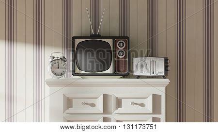 Antique TV set, alarm clock and radio on cabinet, home interior. 3D rendering