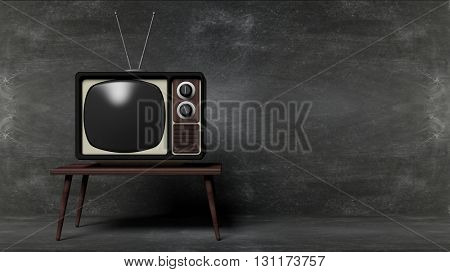 Antique TV set on table with blackboard background. 3D rendering