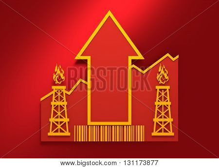 Gas rig icon and rise up arrow. Growth diagram and bar code. 3D rendering