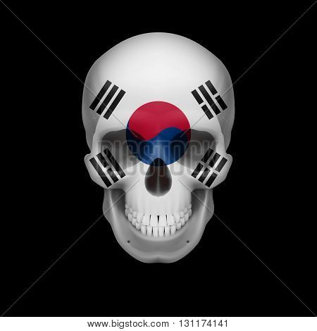 Human skull with flag of South Korea. Threat to national security war or dying out