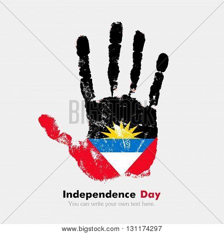 Hand print, which bears the Flag of Antigua and Barbuda. Independence Day. Grunge style. Grungy hand print with the flag. Hand print and five fingers. Used as an icon, card, greeting, printed materials.