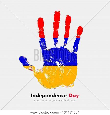 Hand print, which bears the Armenian flag. Independence Day. Grunge style. Grungy hand print with the flag. Hand print and five fingers. Used as an icon, card, greeting, printed materials.