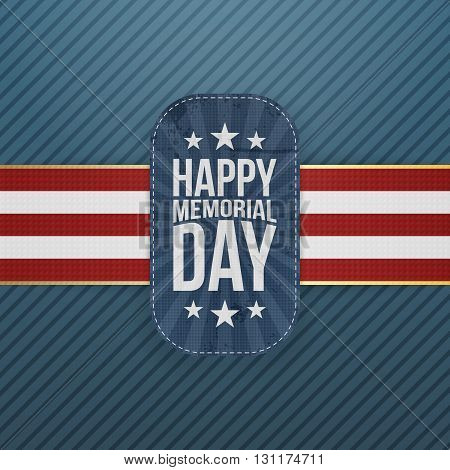 Happy Memorial Day festive Badge and Ribbon. National American Holiday Background Template. Vector Illustration.