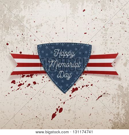 Happy Memorial Day festive Emblem and Ribbon. National American Holiday Background Template. Vector Illustration.
