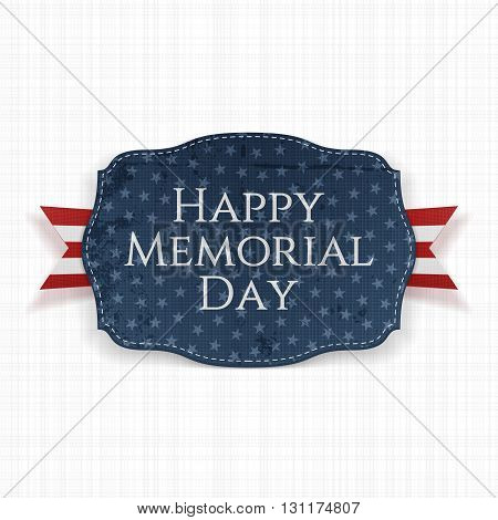 Happy Memorial Day festive Sign and Ribbon. National American Holiday Background Template. Vector Illustration.