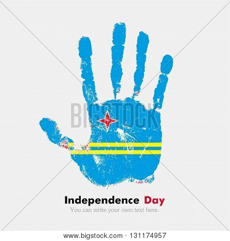 Hand print, which bears the Flag of Aruba. Independence Day. Grunge style. Grungy hand print with the flag. Hand print and five fingers. Used as an icon, card, greeting, printed materials.