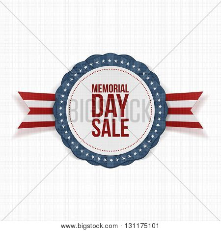 Memorial Day Sale festive Emblem and Ribbon. National American Holiday Background Template. Vector Illustration.