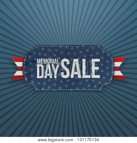 Memorial Day Sale festive Label and Ribbon. National American Holiday Background Template. Vector Illustration.