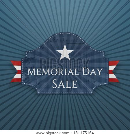 Memorial Day Sale festive Poster and Ribbon. National American Holiday Background Template. Vector Illustration.