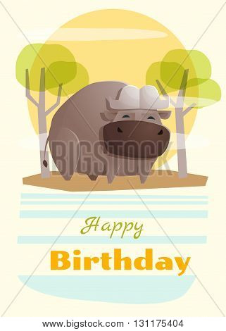 Birthday and invitation card animal background with buffalo,vector,illustration