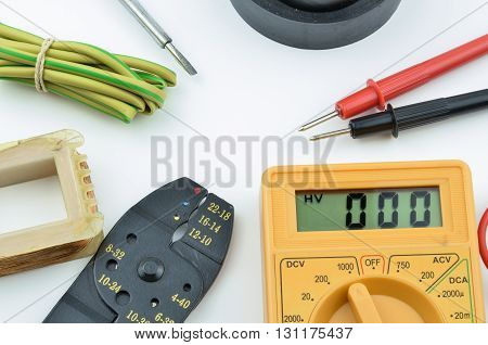 Electrical tools and parts DIY with meter.