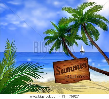 Vector tropical beach with sea sand a boat wooden board and palms