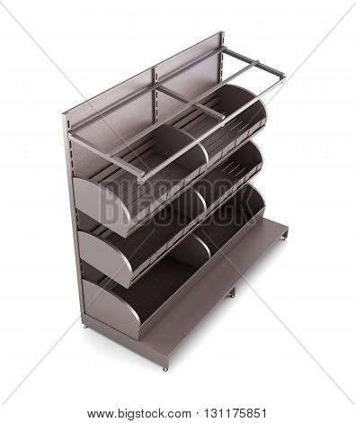 Brown rack for bakery products isolated on white background. Shelves for bread. Shelf for baking. 3d rendering
