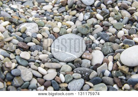 Pebbles with big stone closeup with round stone