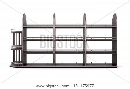 Wooden rack of alcoholic beverages isolated on white background. Front view. 3d rendering