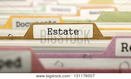 Estate on Business Folder in Multicolor Card Index. Closeup View. Blurred Image. 3D Render.