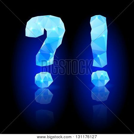 Shiny blue polygonal font. Crystal style question and exclamation marks with reflection on black backround