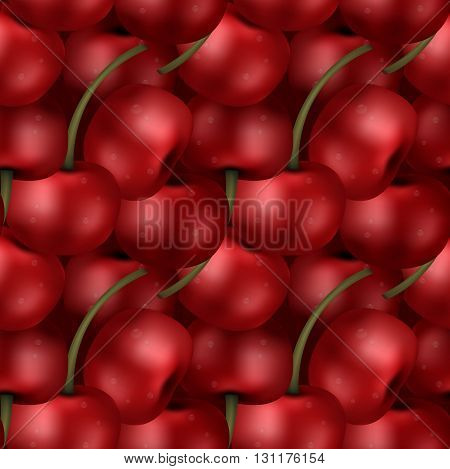 Seamless ripe sweet delicious cherry berries pattern. Tiled effect of a pack of picked up cherries.