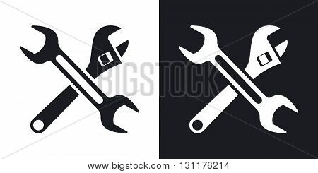 Vector tools icon. Two-tone version on black and white background
