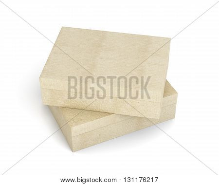 Two closed boxes top view isolated on white background. Empty box, blank cardboard box. 3d rendering