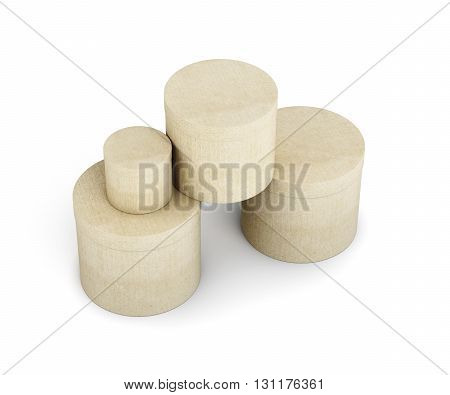 Round cardboard boxes stack isolated on white background. 3d rendering.