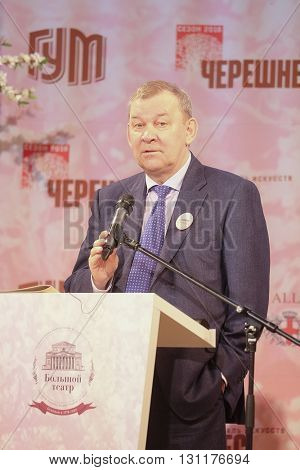 Moscow, Russia - May, 23, 2016: Vladimir Urin, director of the Moscow Bolshoy Theatre on the press conference devoted to tours of the La Scala theater in Moscow.
