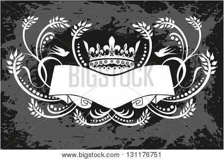 Black and white floral frame with crown