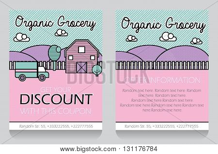 Trendy minimalisctic icon style local grocery store themed discount coupon, advertising flyer, gift voucher costomizable template. Replace text, add your logo to customize template.
