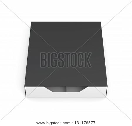 Closed drawer box isolated on white background. Laminated cardboard. Plastic box. Front view. 3d rendering
